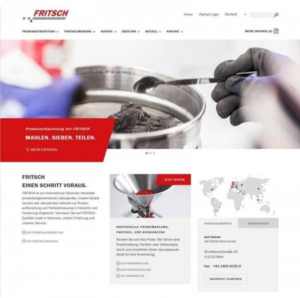 Relaunch FRITSCH homepage International. Benutzerfreundlich. Informativ.